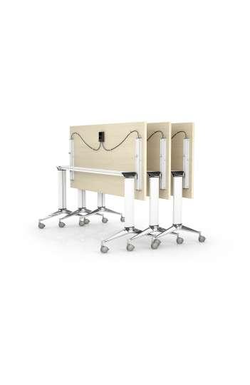 Table rabattable semi montée avec coin arrondi 190 x 70 - Gamme NET