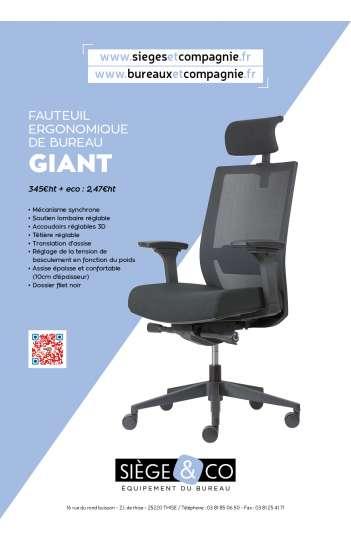 Siège ergonomique de bureau - Giant / Livraison rapide