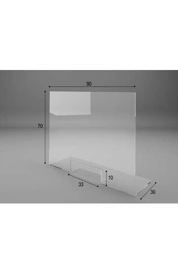 VITRE DE PROTECTION DE COMPTOIR EN PLEXIGLAS - Moyen model : L90xH70x30cm - 01B