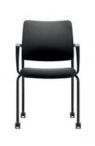 Chaise 4 pieds sur roulettesTo-Sync de Dauphin - Dossier capitonné