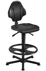 Chaise atelier polyuréthane noir pour personne forte maxi 150 kgs sur patins avec repose pieds fr3 ref : 01071