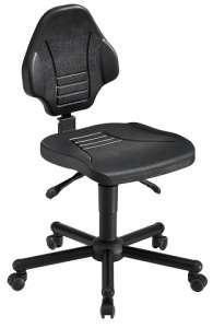 Chaise atelier polyuréthane noir pour personne forte maxi 150 kgs sur roulettes