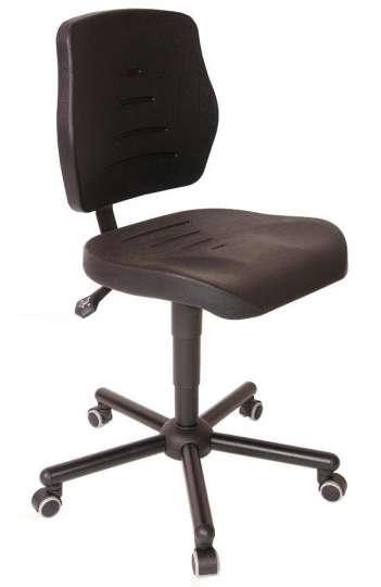 Chaise atelier polyuréthane noir pour personne forte maxi 150 kgs sur roulettes ref : 01085