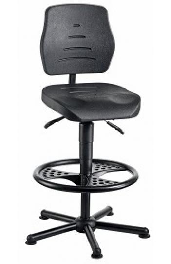 chaise atelier polyur thane noir pour personne forte maxi 150 kgs sur patins avec repose pieds. Black Bedroom Furniture Sets. Home Design Ideas