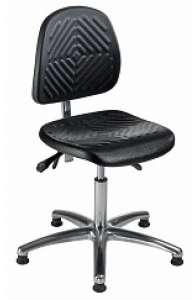 Chaise atelier ESD bas polyuréthane noir, piétement alu.poli sur patins