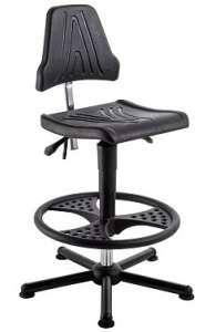 Chaise atelier ESD haut polyuréthane noir sur patins avec repose pieds FR3