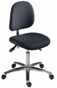 Chaise atelier ESD bas tissu noir,  piétement alu.poli sur roulettes