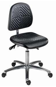 Chaise atelier ESD bas polyuréthane noir, piétement alu poli sur roulettes