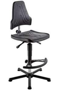 Chaise atelier ESD polyuréthane noir pour personne forte maxi 150 kgs sur patins avec rp fs7