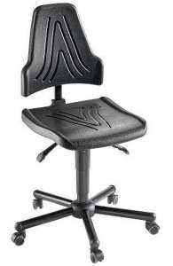 Chaise atelier ESD polyuréthane noir pour personne forte maxi 150 kgs sur roulettes