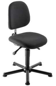 Chaise atelier ESD tissu noir pour personne forte maxi 150 kgs sur patins