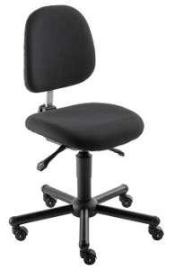 Chaise atelier ESD tissu noir pour personne forte maxi 150 kgs sur roulettes
