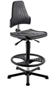 Chaise atelier ESD polyuréthane noir pour personne forte maxi 150 kgs sur patins avec rp fr3