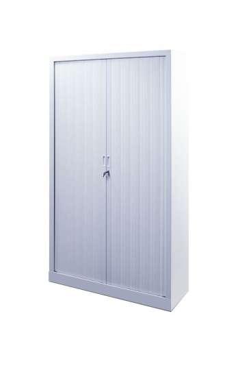 Armoire métallique haute blanche avec portes coulissantes à rideaux L 120 X 198