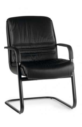 Fauteuil bureau design RAY luge cuir noir
