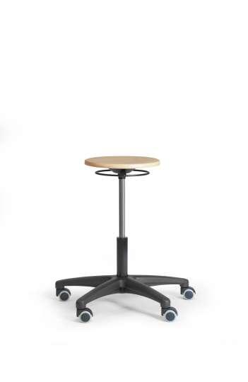 Tabouret assise bois ref : TABBOISPRCVMRS manette circulaire verin moyen pietement nylon roulettes sols durs