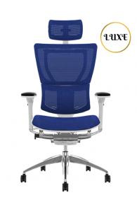 Fauteuil de bureau ergonomique Mirus LUXE - Base BLANCHE / Tissu KMD