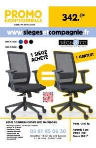 1 SIEGE ACHETE = 1 GRATUIT ! Siège de bureau ergonomique Olympe + accoudoirs